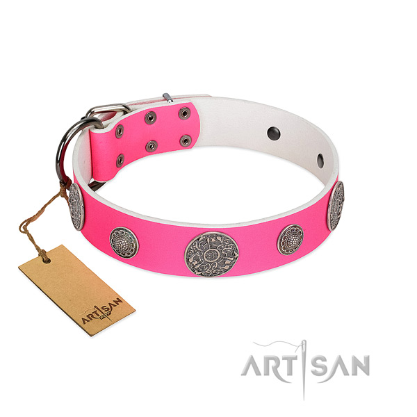 Impressive embellished natural leather dog collar