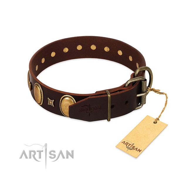 Soft genuine leather collar created for your canine