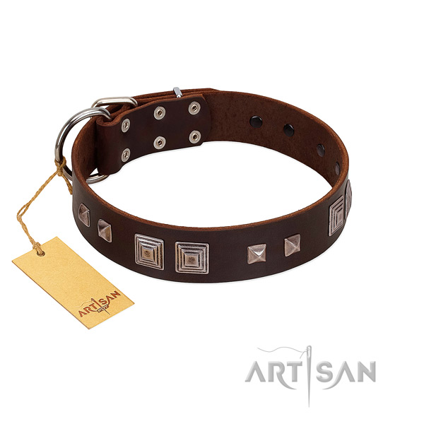 Reliable D-ring on full grain genuine leather dog collar for basic training