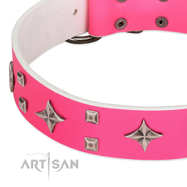 Everyday use best quality full grain natural leather dog collar with studs