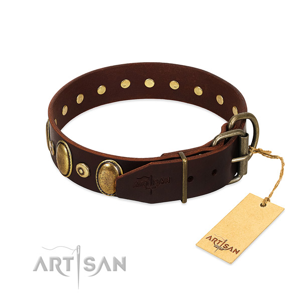 Full grain genuine leather dog collar with corrosion proof studs