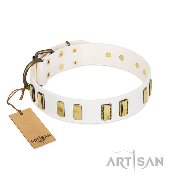 Soft full grain leather dog collar with strong D-ring