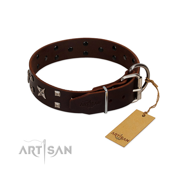 Top rate full grain leather collar created for your dog