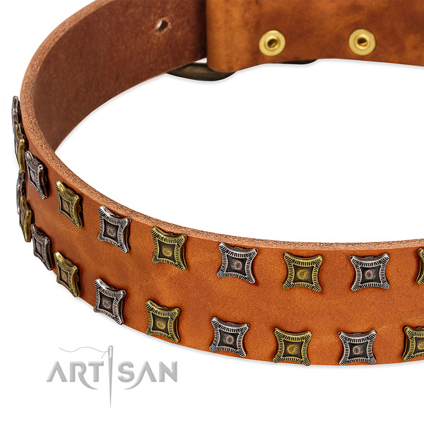 Flexible full grain natural leather dog collar for your handsome pet