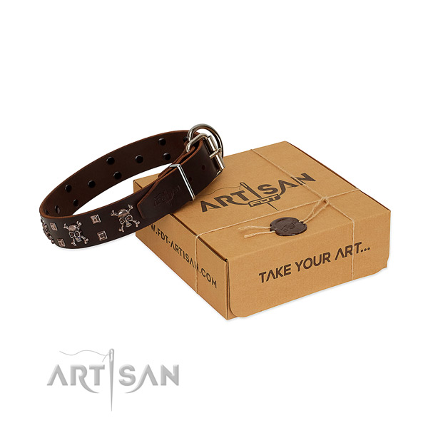 Gentle to touch leather dog collar with durable buckle
