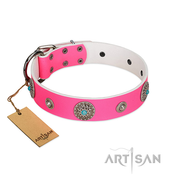 Soft full grain leather dog collar made for your pet