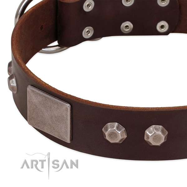 Handy use soft to touch genuine leather dog collar