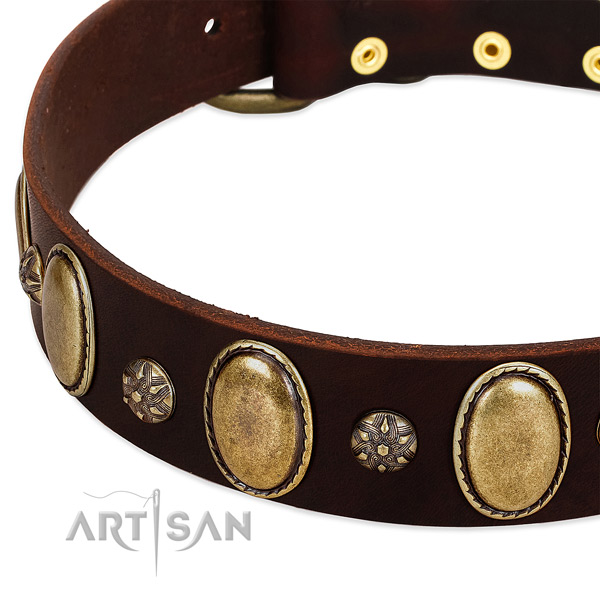 Comfy wearing best quality natural genuine leather dog collar