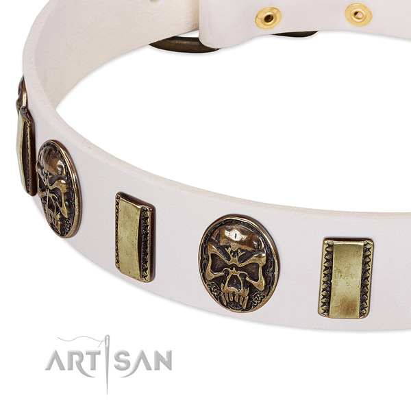 Corrosion resistant embellishments on natural genuine leather dog collar for your four-legged friend