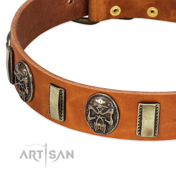 Reliable D-ring on full grain natural leather dog collar for your four-legged friend