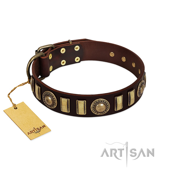 Flexible leather dog collar with strong fittings