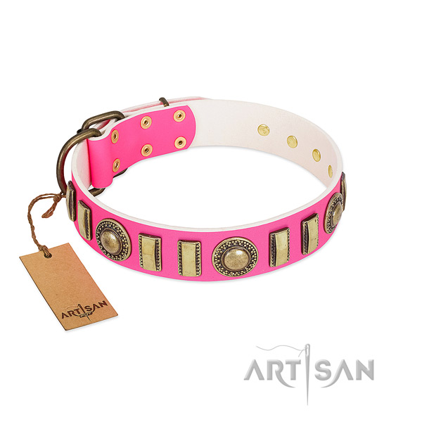 Convenient genuine leather dog collar with corrosion resistant hardware