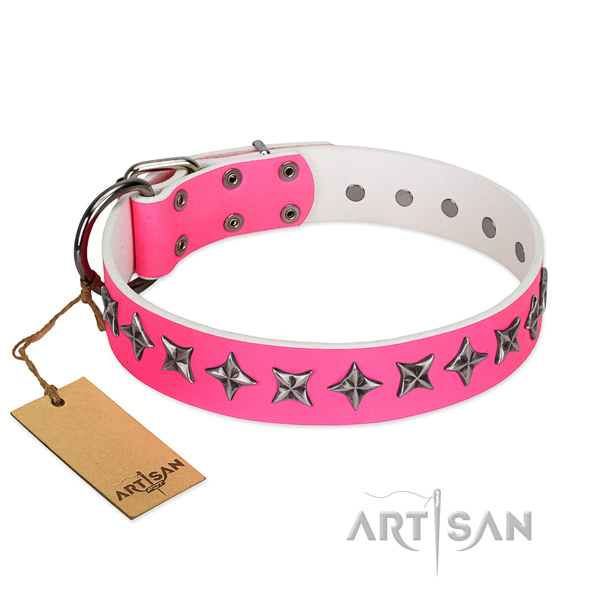 Easy wearing dog collar of strong full grain natural leather with embellishments