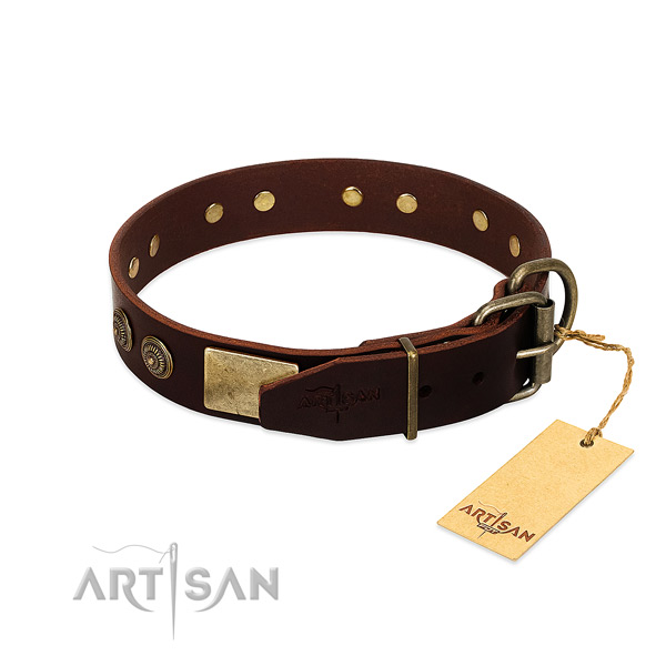 Reliable traditional buckle on full grain natural leather dog collar for your doggie
