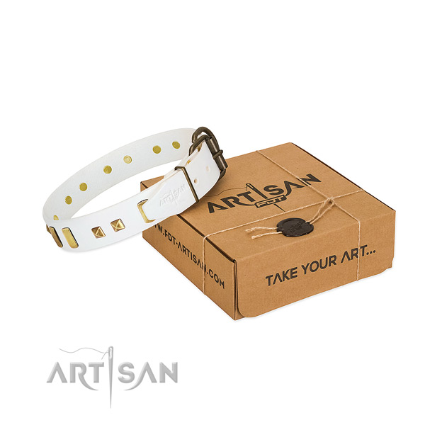 High quality full grain leather dog collar with decorations for handy use