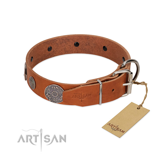 Handcrafted genuine leather collar for your attractive four-legged friend