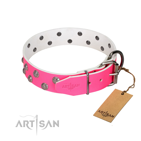 Reliable traditional buckle on adorned leather dog collar