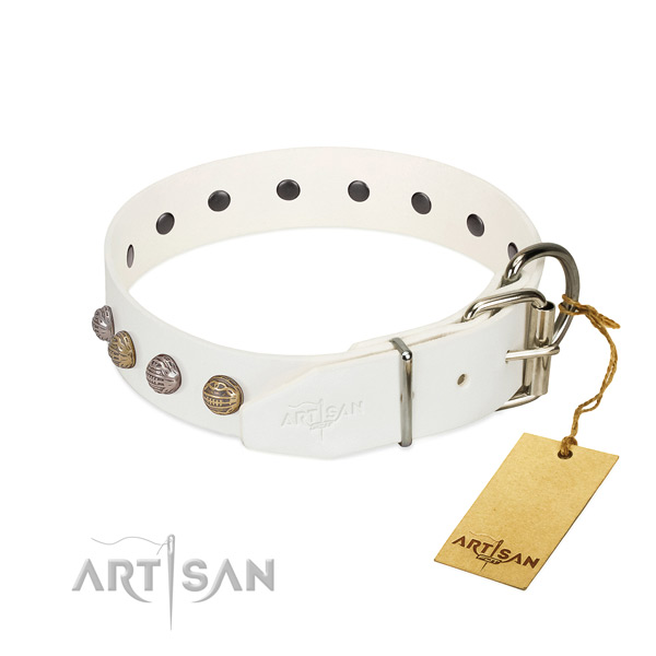 Everyday use soft to touch full grain natural leather dog collar