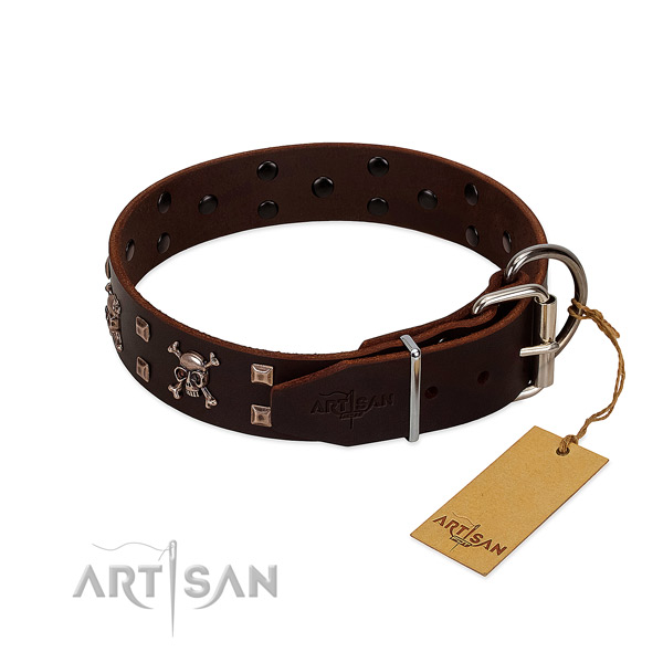 Walking flexible genuine leather dog collar with decorations