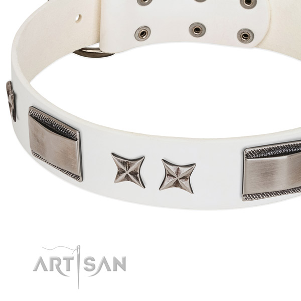 Soft full grain natural leather dog collar with rust resistant D-ring