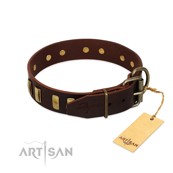 Full grain leather dog collar with rust-proof D-ring for handy use