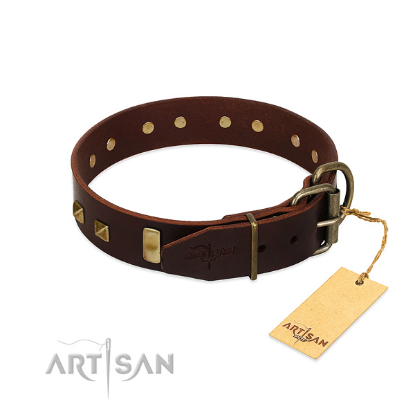 Best quality full grain leather dog collar with durable traditional buckle