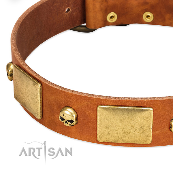 Gentle to touch natural leather dog collar with corrosion resistant D-ring