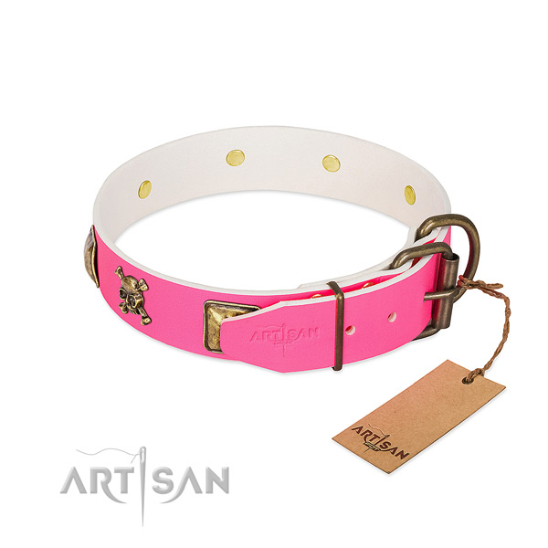 Gentle to touch full grain leather dog collar with remarkable decorations