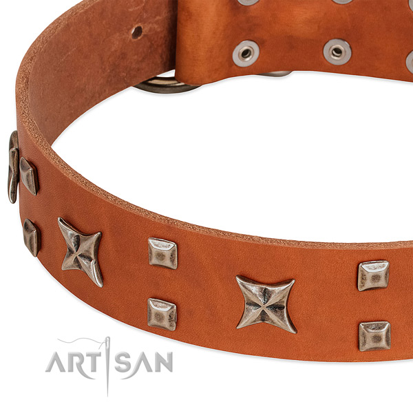 Gentle to touch genuine leather dog collar with decorations for walking