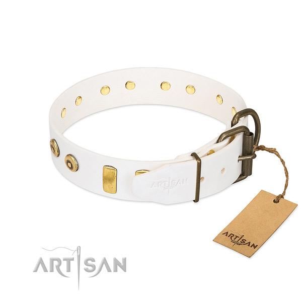 Top notch embellished full grain genuine leather dog collar of reliable material