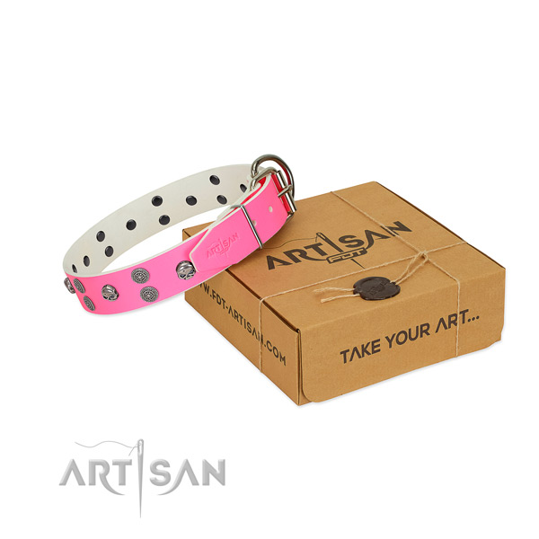 Easy wearing full grain natural leather dog collar with incredible embellishments