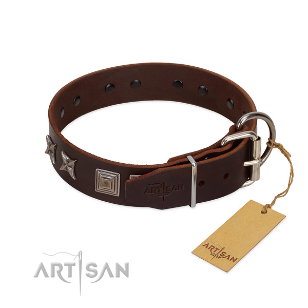 Leather dog collar crafted of flexible material