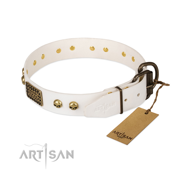 Easy adjustable full grain leather dog collar for stylish walking your canine