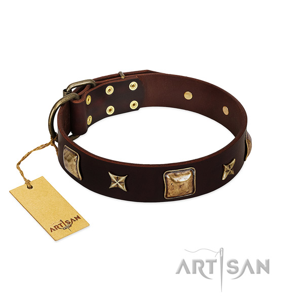 Unusual natural genuine leather collar for your canine