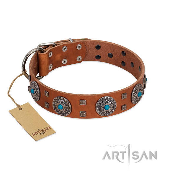 Handy use natural leather dog collar with inimitable adornments