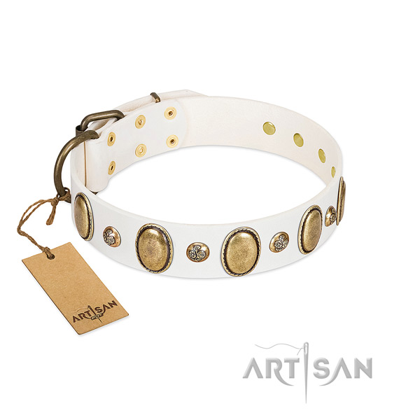 Genuine leather dog collar of top rate material with stylish decorations