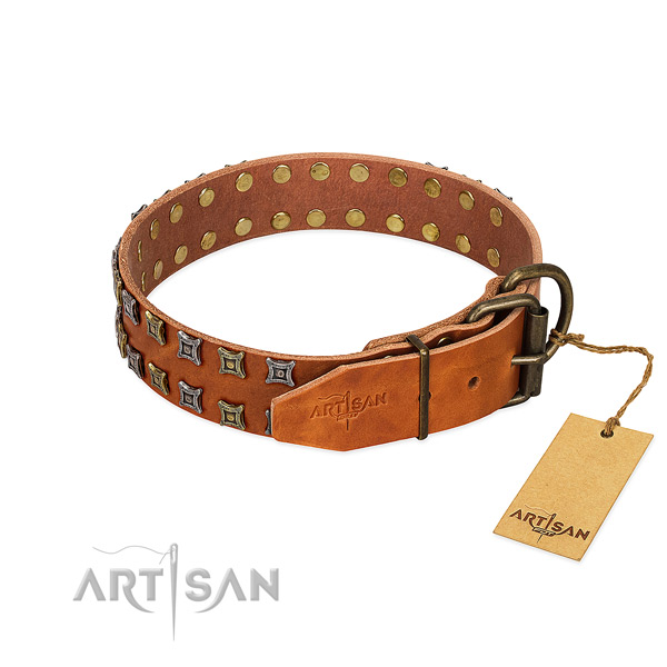 Flexible genuine leather dog collar handcrafted for your canine