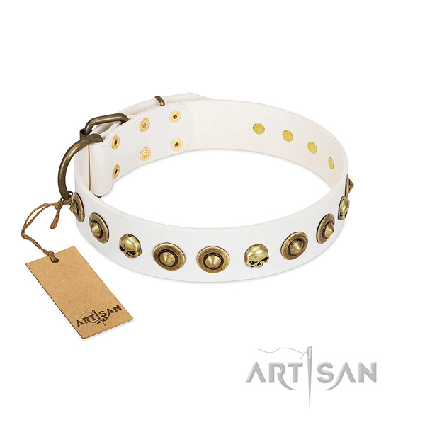 Full grain leather collar with exquisite embellishments for your pet