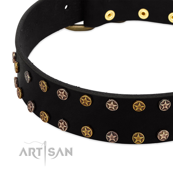 Exquisite decorations on genuine leather collar for your canine