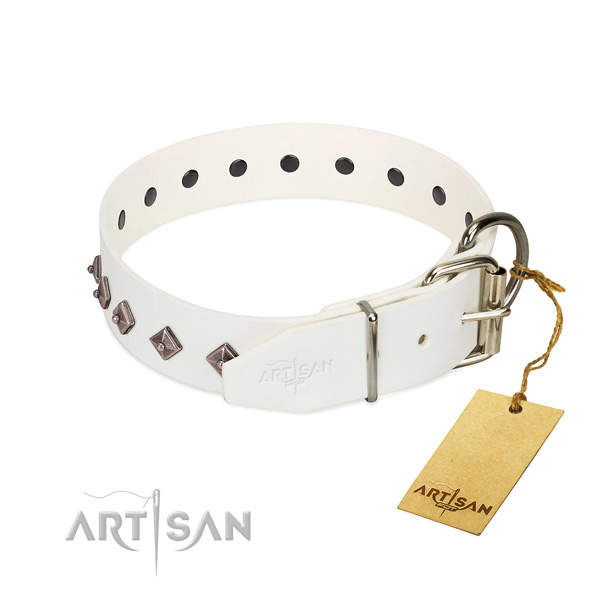 Awesome embellishments on genuine leather collar for comfortable wearing your canine