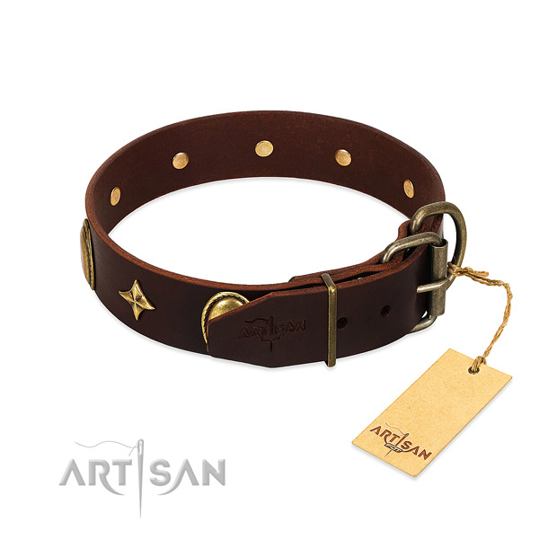 Gentle to touch full grain natural leather dog collar with corrosion proof embellishments