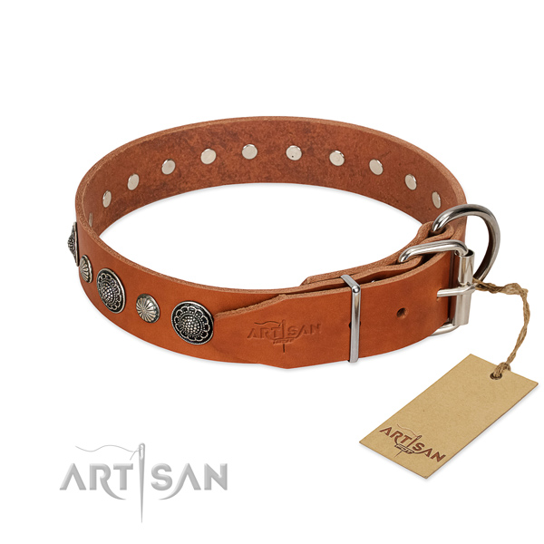 High quality leather dog collar with corrosion proof hardware