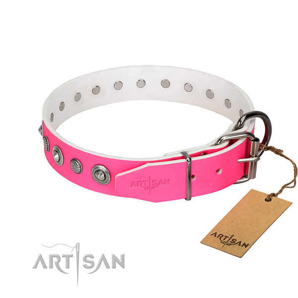 Best quality full grain genuine leather dog collar with exquisite adornments