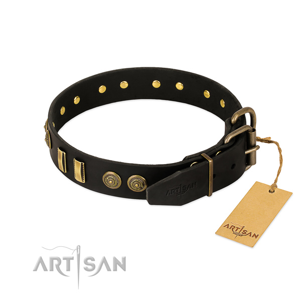 Rust-proof traditional buckle on natural leather dog collar for your dog