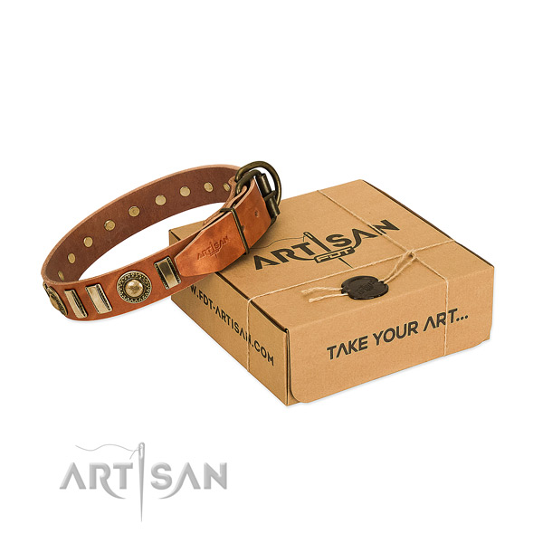 Flexible natural leather dog collar with rust-proof buckle