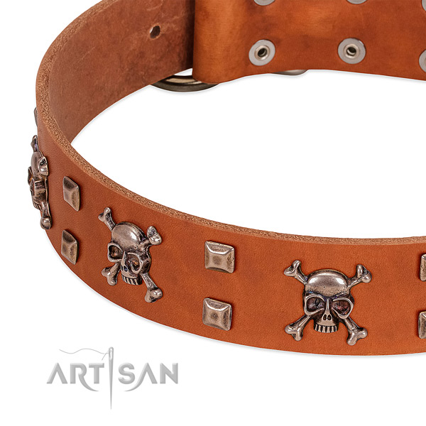 Stylish full grain natural leather collar for your pet