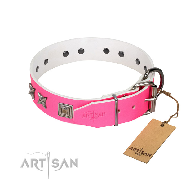 Genuine leather dog collar with trendy adornments for your four-legged friend