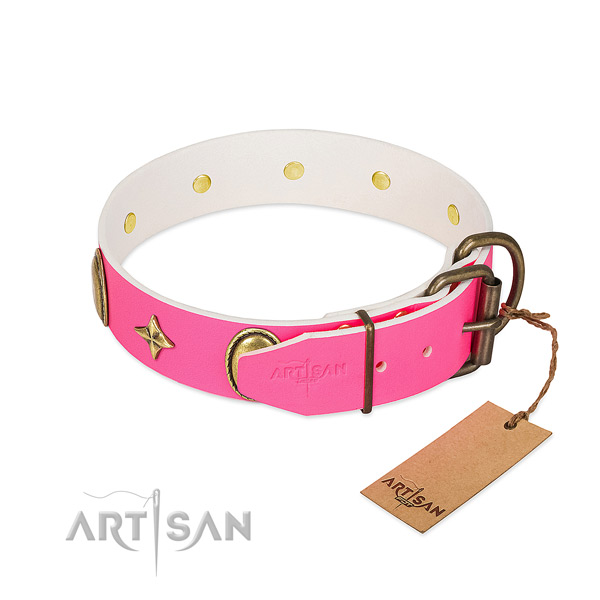 Soft to touch leather dog collar with stylish embellishments
