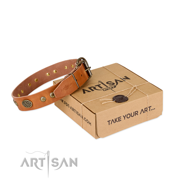 Strong decorations on leather dog collar for your doggie