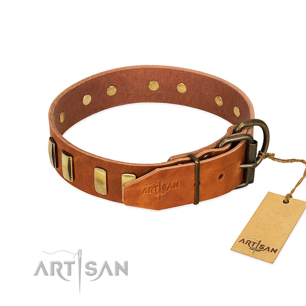 Soft to touch genuine leather dog collar with corrosion resistant D-ring
